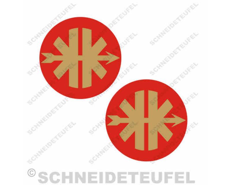 Kreidler Logo Goldrot Set