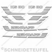Zündapp KS 80 Aufkleberset silber