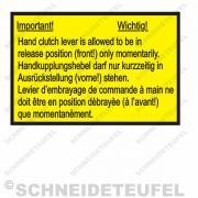 IHC Warnaufkleber Handkupplungshebel