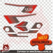 Zündapp KS 50 Super Aufkleberset rot
