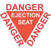 Warnschild Danger ejection seat