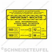 IHC Warnaufkleber Motordrehzahl