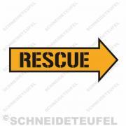 Warnschild Rescue Gelb auf Schwarz