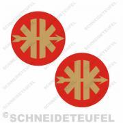Kreidler Logo gold/rot Set