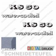 Zündapp KS 50 watercooled Aufkleberset silbermetallic