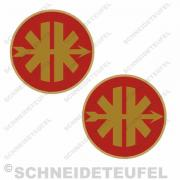 Kreidler Logo Beinschild gold/rot Set