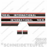 IHC International Motorhaubenaufkleber schwarz rot 145x10, 7 cm