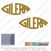 Gilera Emblem Set Goldmetallic auf Schwarz 13cm