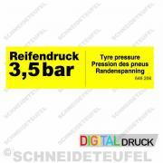 Warnaufkleber Reifendruck 3,5 Bar gelb